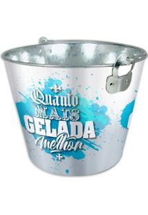 Balde De Gelo- Prateado & Azul- 5Lricaelle
