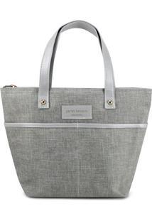 Bolsa Shopper Com Bolsos- Cinza & Cinza Claro- 23,5Xjacki Design