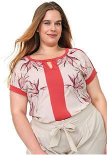 Blusa Cativa Plus Recortes Rosa