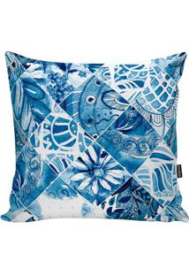 Capa De Almofada Turkish- Azul & Branca- 45X45Cmstm Home