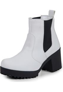 Bota Feminina Tratorada Go Well Shoes Branca