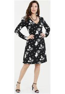 9f3691da4 R$ 69,95. Marisa Vestido Transpassado Estampado Curto Liganete Com Manga  Longa Preto Floral Textura Florida Feminino Marisa