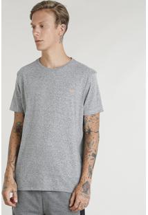 Camiseta Masculina Esportiva Ace Manga Curta Gola Redonda Cinza Mescla