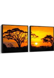 Quadro 65X130Cm Paisagem Por Do Sol Namíbia Canvas Moldura Filete Flutuante Decorativo Oppen House