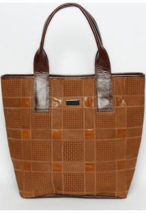 Bolsa Shopper Em Couro Geomã©Trica- Marrom Claro- 34,Griffazzi