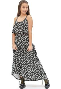 Vestido Feminino Longo Floral Com Recorte Preto