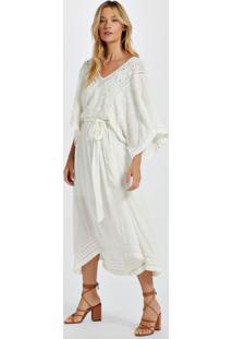 Vestido De Viscose Mangão Off White