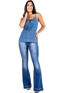 Blusa Jeans Com Laço E Ilhós