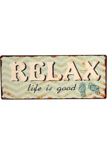 Placa De Metal Decorativa Vintage Good Relax