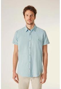 Camisa Reserva Pf Mc Linho Masculina - Masculino-Azul Turquesa