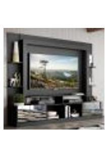 "Rack C/ Painel Tv 65"" Portas C/ Espelho Oslo Multimóveis Preto/Lacca Fumê"