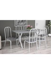 Conjunto De Mesa Miame 150 Cm Com 6 Cadeiras Madri Branco E Vegetale