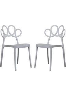 Kit 02 Cadeiras Decorativas Para Cozinha Laço Branco - Gran Belo - Tricae