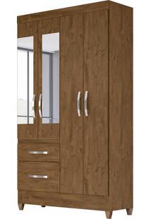 Guarda-Roupa Solteiro Com Espelho Madri 4 Pt 2 Gv Castanho Wood