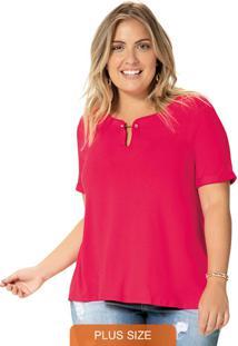 Blusa Rosa Escuro Com Detalhe Metálico