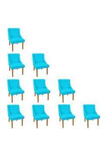 Kit 10 Cadeiras De Jantar Liz Suede Azul Turquesa Pés Palito Castanho D'Rossi