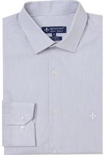 Camisa Dudalina Manga Longa Fio Tinto Listrado Masculina (Cinza Claro, 43)
