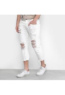 Calça Jeans Reta Forum Curta Com Rasgos Masculina - Masculino-Off White