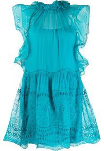Alberta Ferretti Vestido Com Renda Inglesa - Azul