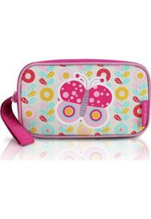 Necessaire E Estojo Jacki Design De Microfibra - Feminino-Pink+Branco