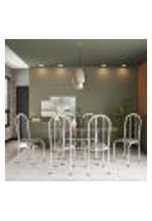 Conjunto De Mesa Com 6 Cadeiras Andrea Cinza E Estampa Capitonê