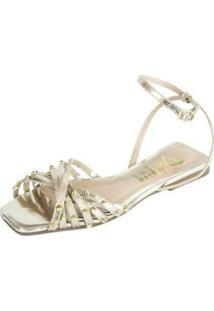 Sandalia Rasteira Juliana Dali Shoes Couro E Spikes - Feminino