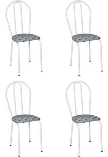 Conjunto 4 Cadeiras Hécate Branco E Estampa Capitonê
