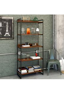 Estante Para Livros 5 Prateleiras Nogal 8394 - Compace
