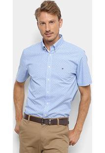 Camisa Tommy Hilfiger Ec Printed Houndstoo Masculina - Masculino-Azul