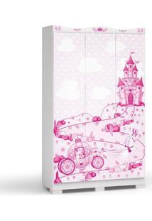 Armário Scott 3 Portas, 2 Gavetas Com Pés, Padrao - Ro - Branco Brilho Com Desenho Feminino Na Frente