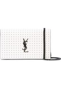 Saint Laurent Clutch Com Estampa De Poás - Branco