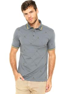 Camisa Polo Timberland Estampada Cinza