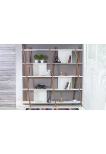 Estante Branca Grande Para Sala Design 5 Prateleiras E Nichos Moderna Mdf E Madeira Cor Nogueira Sue Woodinn 180X38X180 Cm