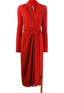 Rick Owens Vestido Envelope Assimétrico - Vermelho