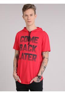 "Camiseta Masculina Longa ""Come Back Later"" Com Capuz Manga Curta Vermelha"