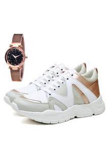 Tênis Sapatênis Plataforma Elegant Metalizado Com Relógio Gold Feminino Dubuy 737La Dourado