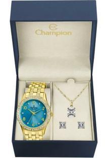 Kit Relógio Champion Feminino Passion - Cn29285Y - Feminino-Dourado