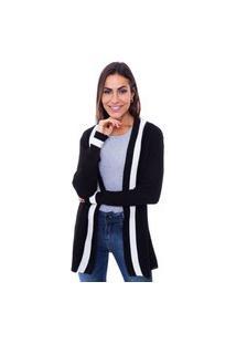 Cardigan Feminino Alongado Tricot Preto Com Branco