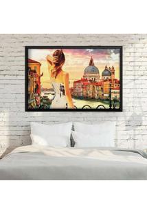 Quadro Love Decor Com Moldura Entardecer Em Veneza Preto - Médio