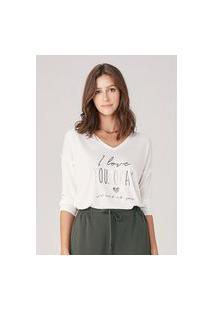T-Shirt Em Malha Com Foil - Off White