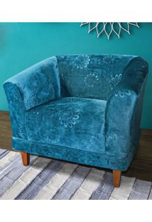 Poltrona Deco. Fixa Atlanta Veludo Estampado Azul Fabone Móveis
