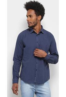 Camisa Manga Longa Colcci Básica Algodão Masculina - Masculino-Azul