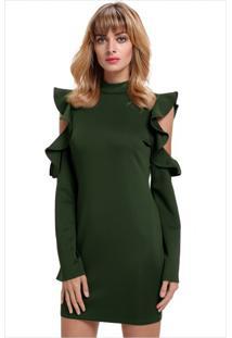 Vestido Curto Recorte Zíper Nas Costas Manga Longa - Verde Militar