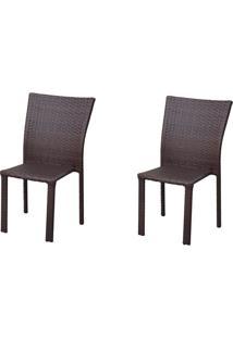 Kit 2 Cadeiras De Alumínio C402 Unaí Marrom - Alegro Móveis