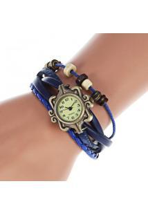 Relógio Feminino Quartzo Com Pingente Trevo De Quatro Folhas - Azul Safira