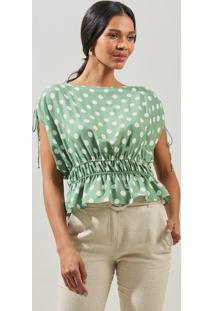 Blusa Mx Fashion Estampada Com Franzido Sabrina Verde - Kanui
