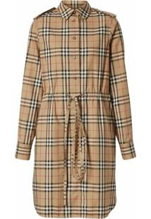 Burberry Vintage Check Drawcord Shirt Dress - Neutro