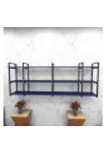 Estante Estilo Industrial Sala Aço Cor Preto 180X30X68Cm (C)X(L)X(A) Cor Mdf Azul Modelo Ind34Azsl
