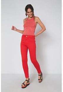 Calça Sarja Bardot Color Pacifico - Oh, Boy! Feminina - Feminino-Vermelho