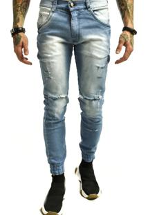 Calça Rich Young Sarja Punho Rasgada Jeans Azul